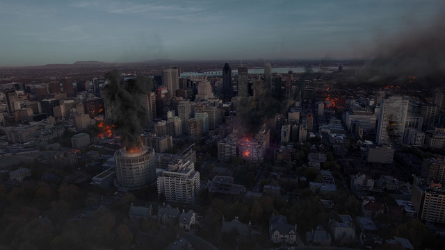 Aerial VFX shot burning city