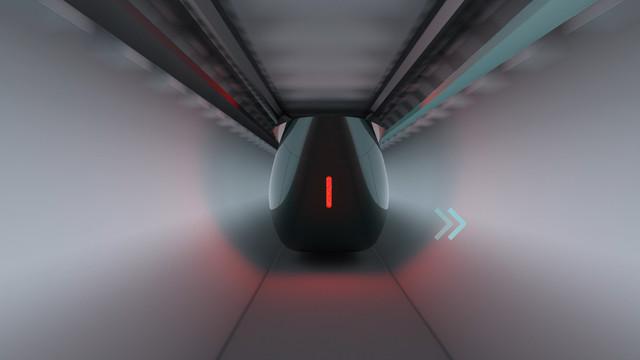 Hardt Hyperloop 3D visualisatie en animatie 03 op snelheid in tunnel