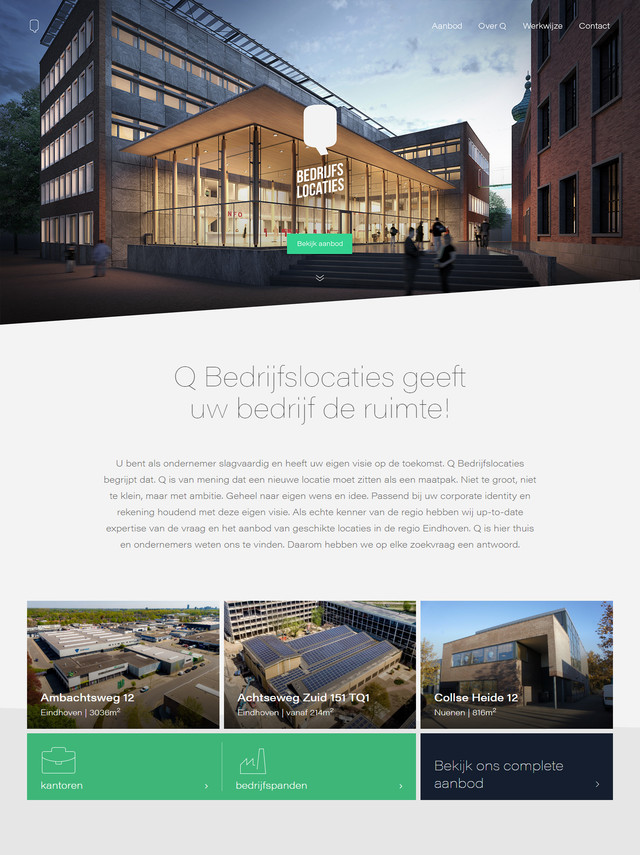 Q bedrijfslocaties Homepage responsive website