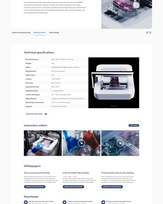 Cyto SMART Webdesign craft website Product detail technical details Omni