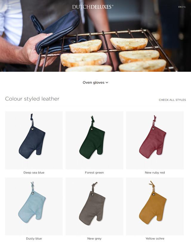 Dutchdeluxes website Desktop view oven gloves