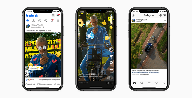 Telefoon in je zak Ogen op de weg Stichting Yannick Socials on Smartphone